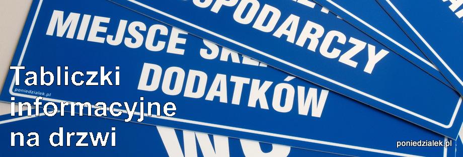 Zaawansowane Tabliczki informacyjne na drzwi | poniedzialek.pl Kraków WN85